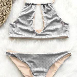 NWT 2pc Reversible Bikini Set Medium Apricot Gray